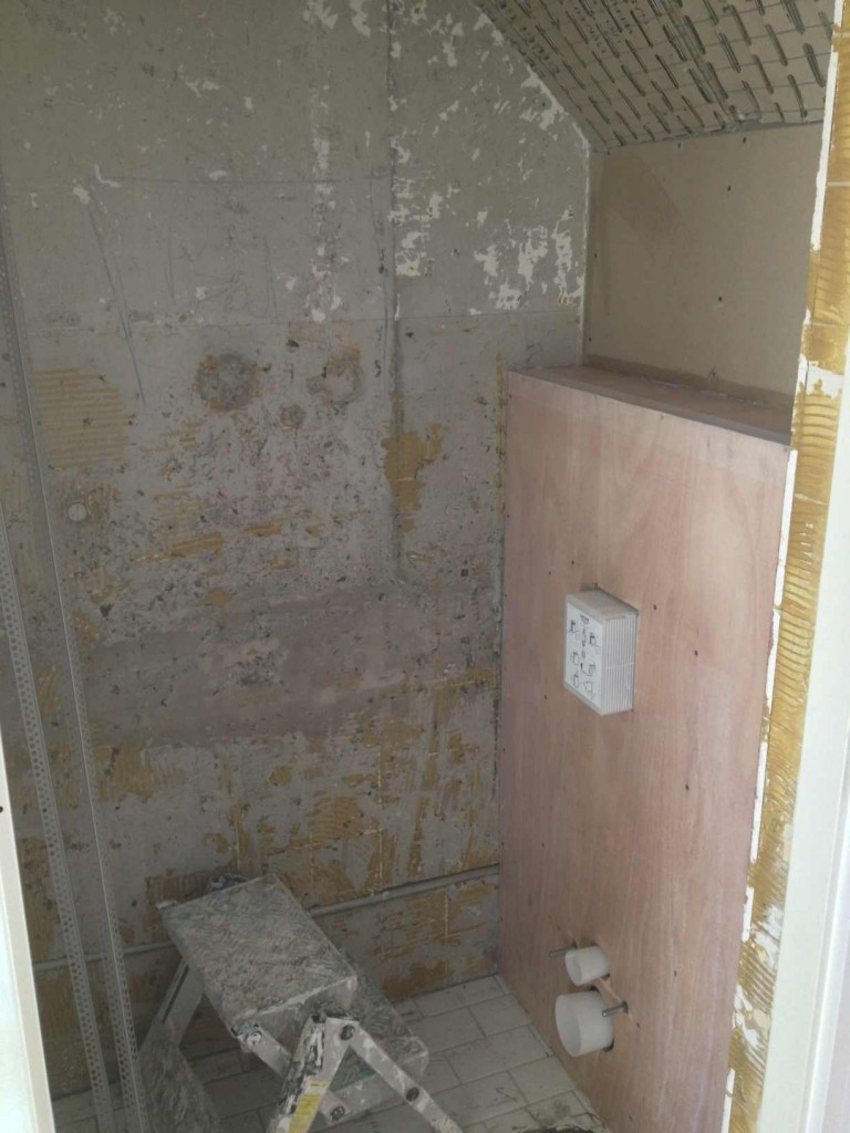 Toilet vóór het aanbrengen van beton cire