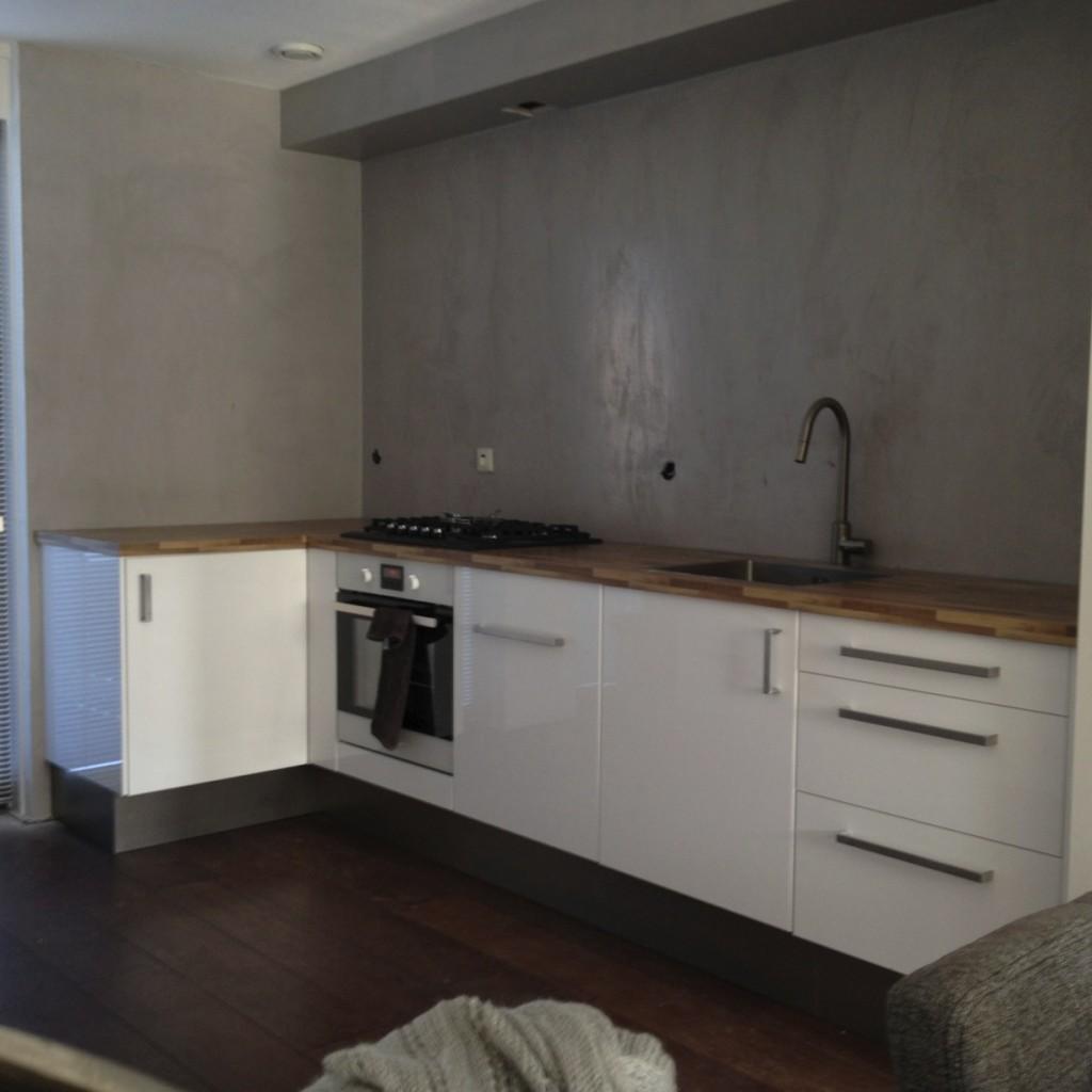 Beton Ciré achterwand keuken